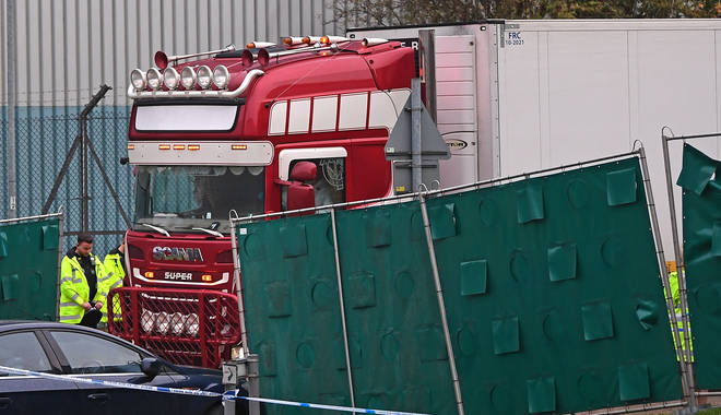 The container lorry where 39 people were found dead inside at Waterglade Industrial Park in Grays, Essex,