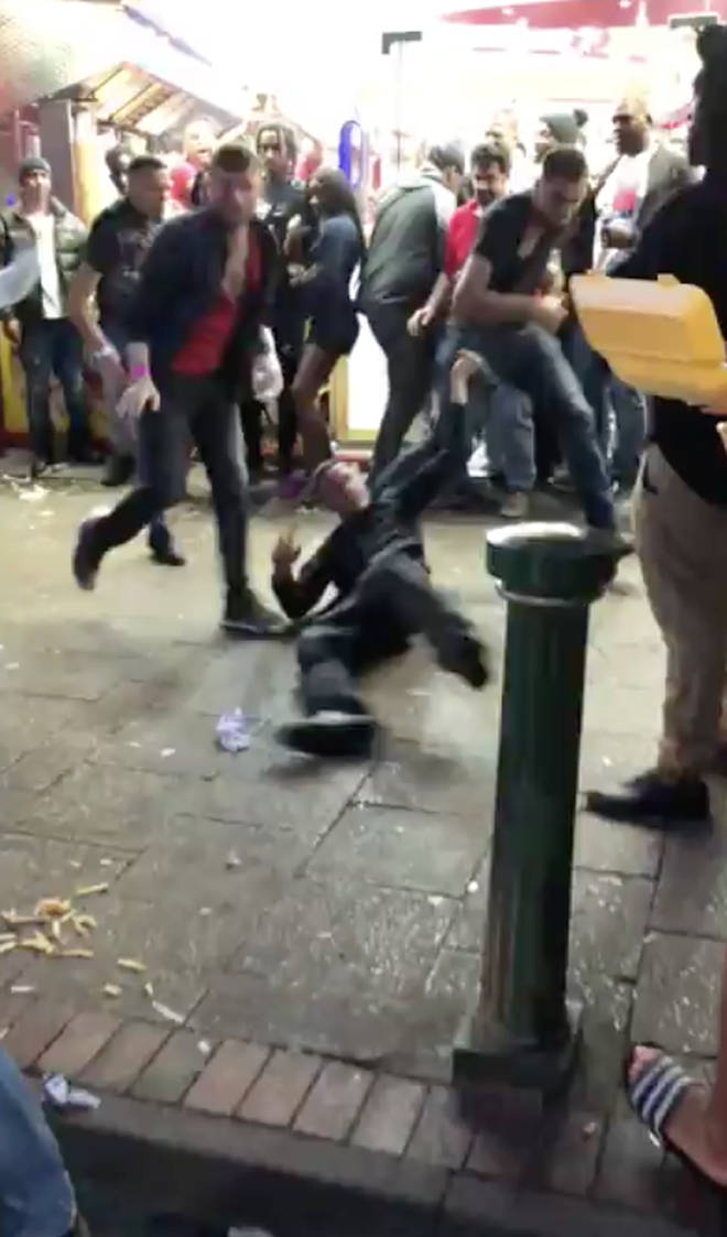 It's claimed the brawl took eight police officers to break up