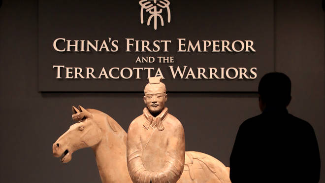 Terracotta Warriors on display as part of the China's First Emperor and the Terracotta Warriors exhibition at the World Museum in Liverpool.