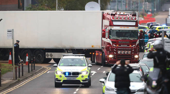 The lorry where 39 bodies were found has been removed from Waterglade Industrial Park.