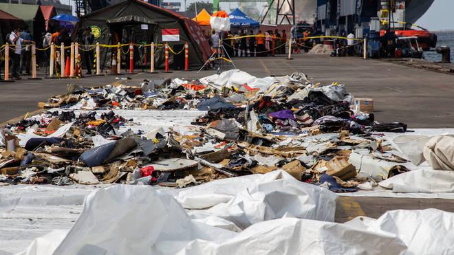 Debris from the crash at Tanjung Priok Harbour