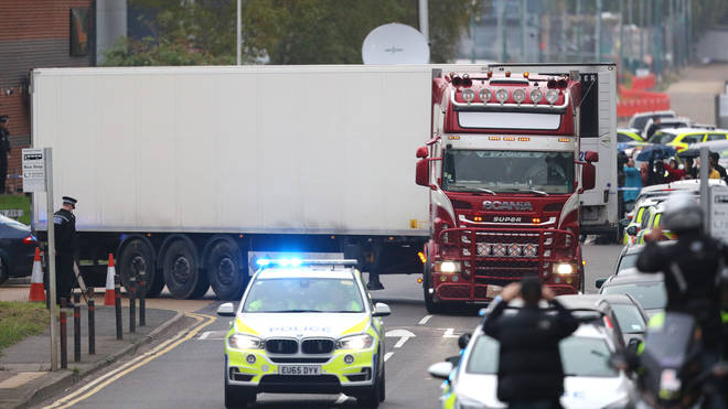 Dozens of bodies were found in the back of the lorry trailer in Essex
