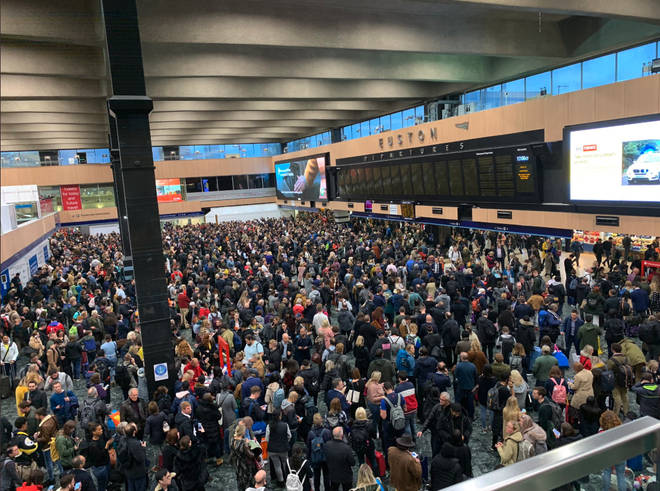 London Euston station is currently closed following reports of a man who has climbed onto the overhead wires