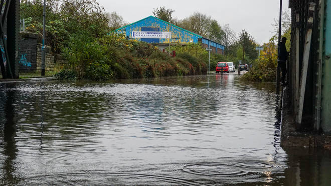 Floodwater seen in Chesterfield