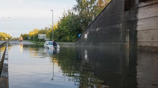 One driver became trapped after trying to get through the flood