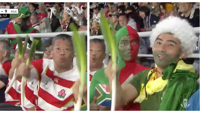 Wales fans were thrilled to see Japanese fans bring leeks to the game on Sunday