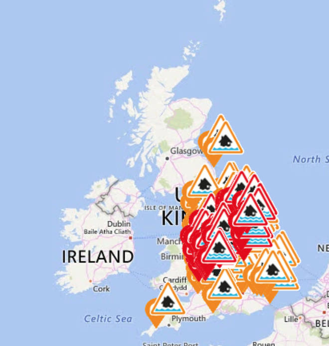 The flood warnings cover much of the country