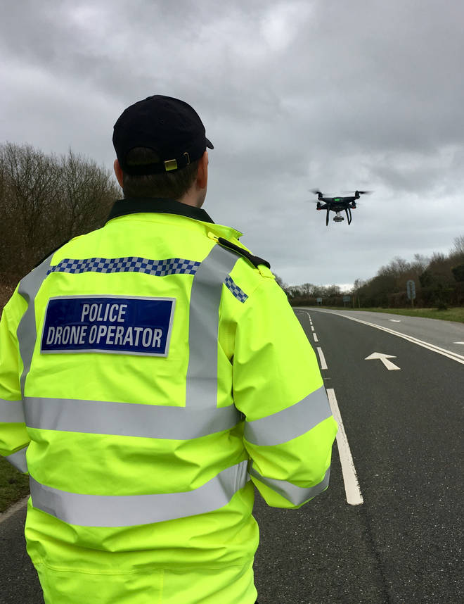 One of the police drone operators