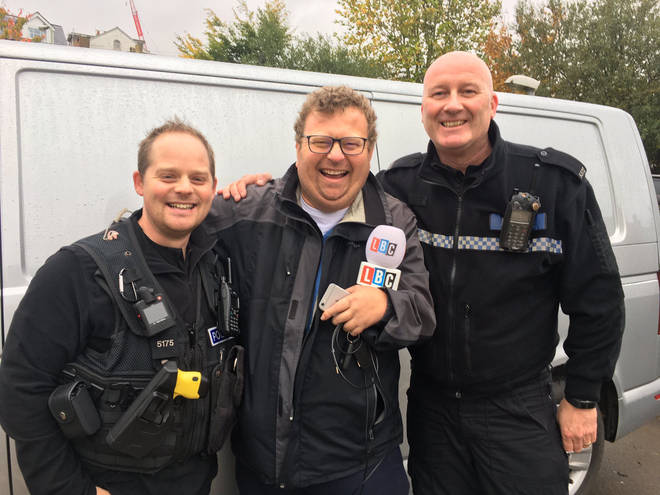 Police drone operators with LBC News reporter Andy Ballantyne