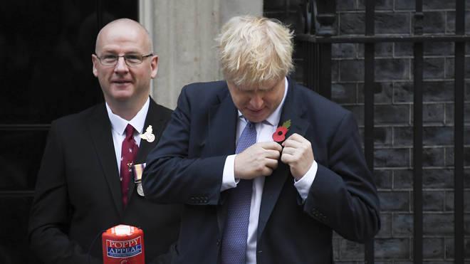 Boris Johnson purchased his poppy outside Downing Street
