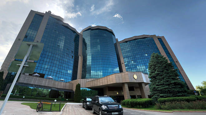 The dad has been arrested following the incident at the InterContinental Hotel in Kazakhstan