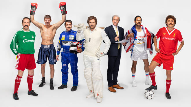 (left to right) Ben Miller as Bruce Grobbelaar, Luke Campbell as Barry McGuigan, Richard Hammond as Nigel Mansell, Iwan Thomas as Ian Botham, Tim Lovejoy as Des Lynam, Dev Griffin as Daley Thompson and Jimmy Bullard as Graeme Souness