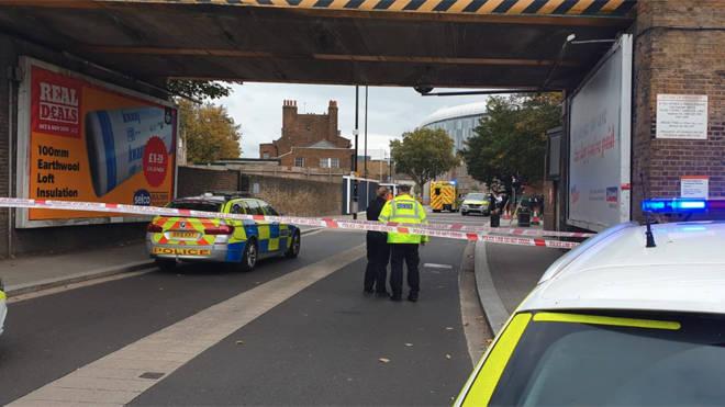 Police at the scene in Tottenham