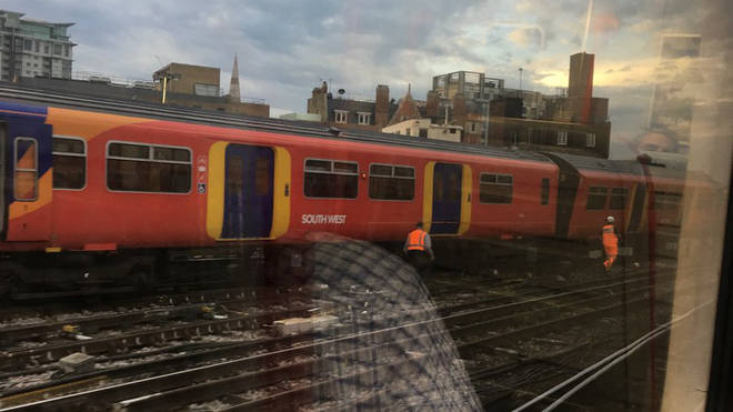 Train derails at London Waterloo. Picture: Vince Gannon