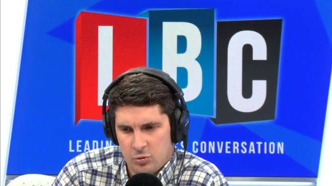 Tom Swarbrick looking shocked in the LBC studio