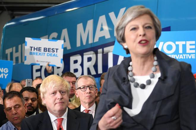 Theresa May and Boris Johnson at a campaign rally in 2017