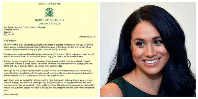 Female MPs wrote a letter in support of the Duchess of Sussex