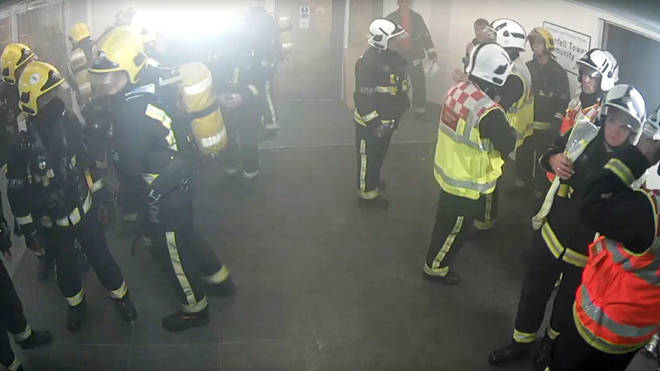 Dany Cotton wearing full fire kit (centre, right), inside Grenfell Tower at around 3.05am on then morning of the fire