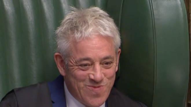 John Bercow broke into a grin as Boris Johnson paid him a compliment