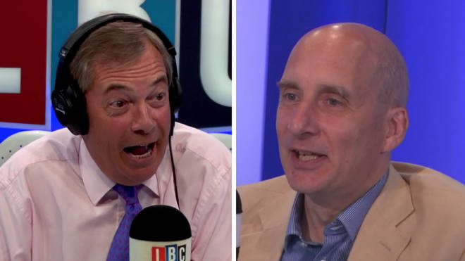 Nigel Farage and Lord Andrew Adonis in the LBC studio.