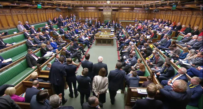MPS reads out the result of the vote as legislation for an early general election on December 12 has cleared the House of Commons
