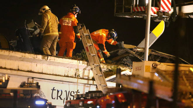 The scene of the helicopter crash at the Clutha bar