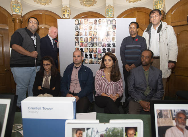 Survivors of the Grenfell Tower fire, during a press conference at Church House, Westminster