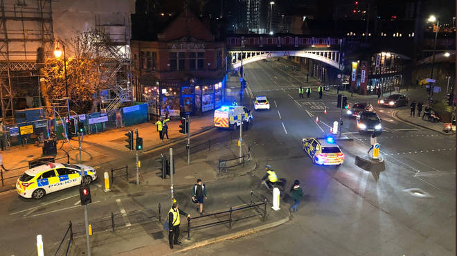 The area surrounding Deansgate has a police presence