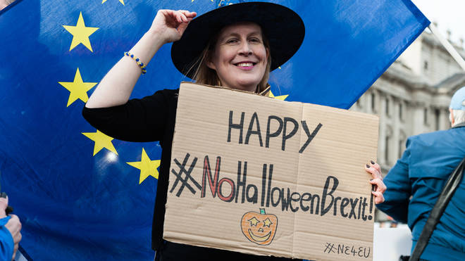 Protesters celebrate Brexit being delayed