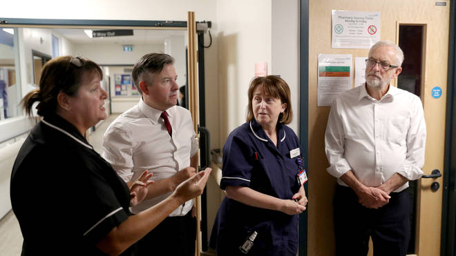 The Labour leader visited a hospital