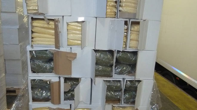 The drugs were hidden in bags of out of date pizza cheese