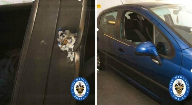 Marks left on the Peugeot 207 by gunfire