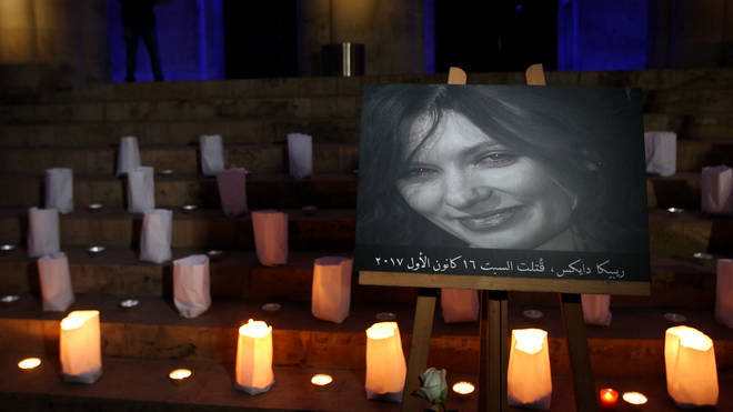 A candlelit vigil held in Lebanon for the embassy worker