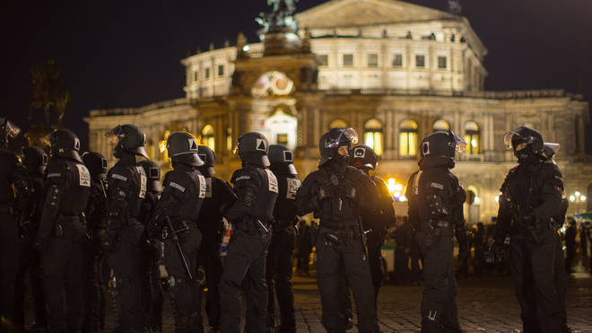 Riot police in Dresden