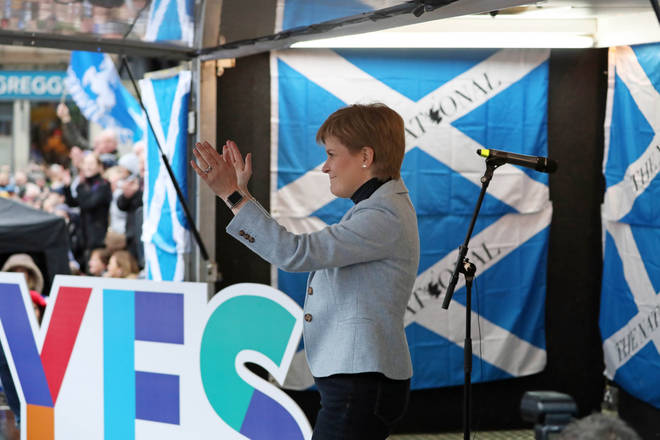 First Minister Nicola Sturgeon addresses the rally in Glasgow