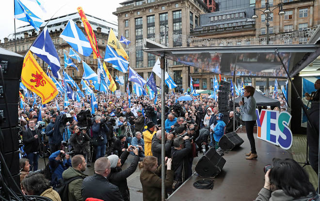 The rally took place in George Square in Glasgow