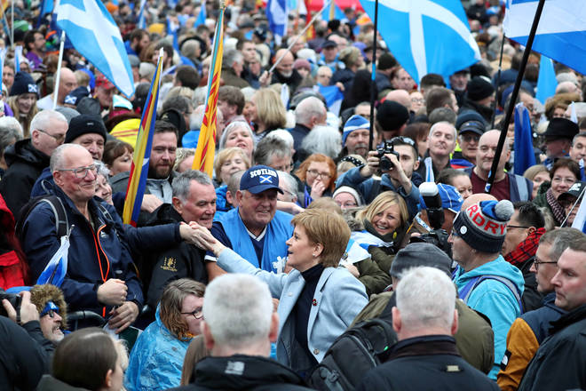 First Minister Nicola Sturgeon shaking hands with supporters at the rally