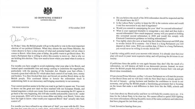 The Prime Minister's letter to Jeremy Corbyn