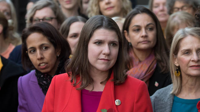 Liberal Democrat leader Jo Swinson speaks to the media outside the Houses of Parliament