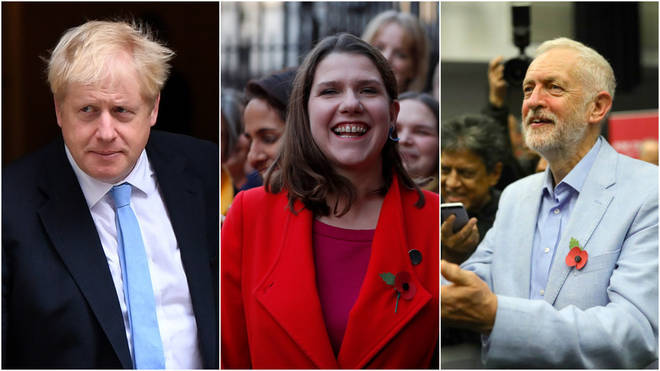 Party leaders Boris Johnson, Jo Swinson and Jeremy Corbyn
