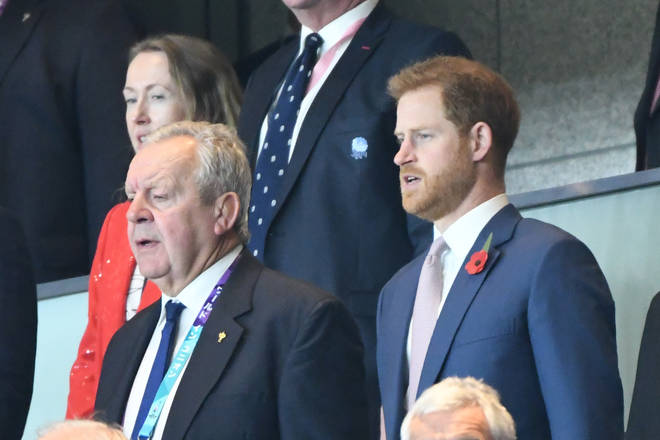 Prince Harry, Duke of Sussex during the 2019 Rugby World Cup Final match between England and South Africa