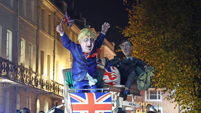 Jacob Rees-Mogg was also featured at the back of the effigy