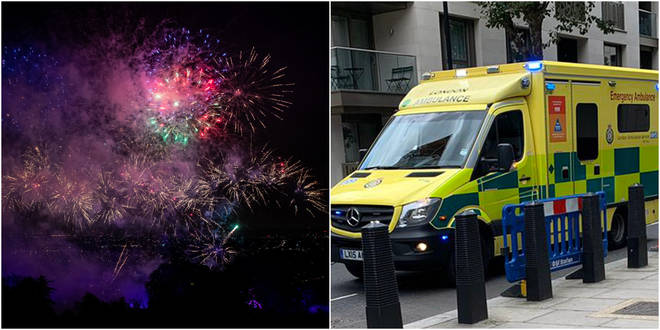 A London ambulance was attacked with fireworks