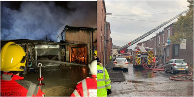 Eight fire engines were at the scene of a fire at a commercial property on Pitt Street, Oldham, Manchester