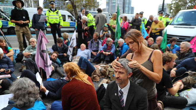 Extinction Rebellion protesters occupied Millbank near Parliament
