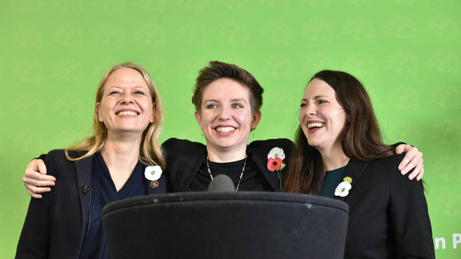 Green Party Co-Leader Sian Berry (left), Deputy Leader and Parliamentary Candidate for Newport West Amelia Womack (right), and Bristol West Candidate Carla Denyer (centre)