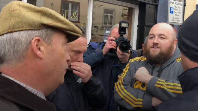 Karl Connor confronted Mr Farage in Cumbria