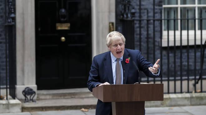 Boris Johnson made the speech outside Downing Street