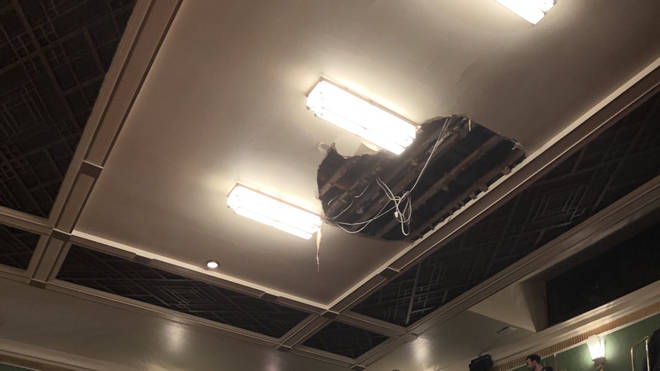 The ceiling caved in mid-way through the performance
