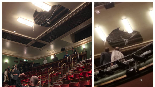 The ceiling has collapsed at the Picadilly Theatre in the West End